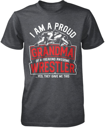 Proud (Nickname) of an Awesome Wrestler - Personalized T-Shirt - Premium T-Shirt / Dark Heather / S