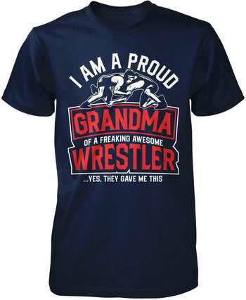 Proud (Nickname) of an Awesome Wrestler - Personalized T-Shirt - Premium T-Shirt / Navy / S