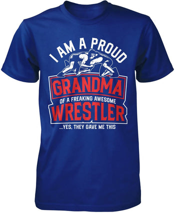 Proud (Nickname) of an Awesome Wrestler - Personalized T-Shirt - Premium T-Shirt / Royal / S