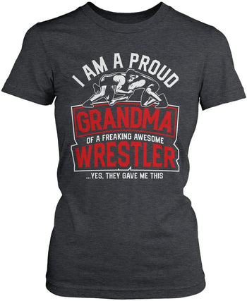 Proud (Nickname) of an Awesome Wrestler - Personalized T-Shirt - Women's Fit T-Shirt / Dark Heather / S