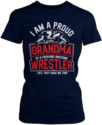 Proud (Nickname) of an Awesome Wrestler - Personalized T-Shirt - Women's Fit T-Shirt / Navy / S