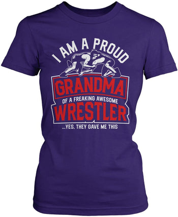 Proud (Nickname) of an Awesome Wrestler - Personalized T-Shirt - Women's Fit T-Shirt / Purple / S