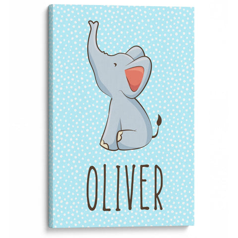 Baby Elephant Blue - Personalized Canvas - Canvases