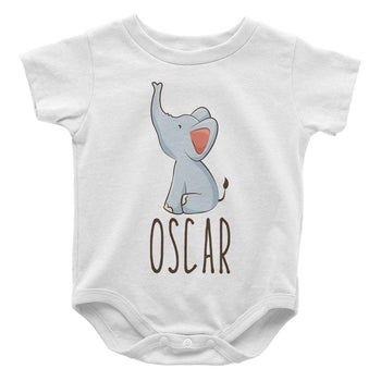 Baby Elephant Blue - Personalized Baby Bodysuit - Baby Apparel