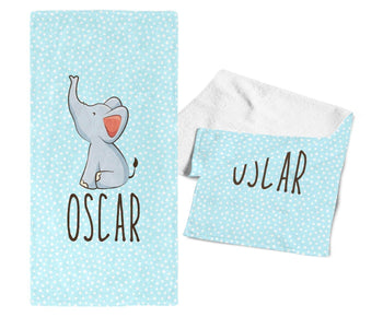 Baby Elephant Blue - Personalized Towel - Towels