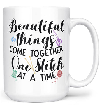 One Stitch At a Time - Mug - White / Large - 15oz