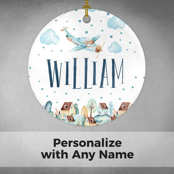 Cloudy Airplane - Personalized Ornament