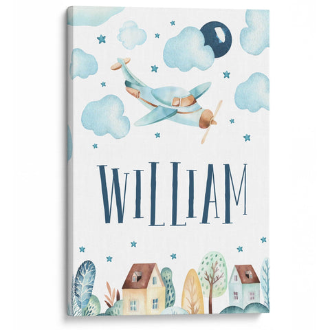 Cloudy Airplane - Personalized Canvas - Canvases