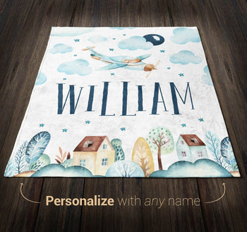 Cloudy Airplane - Personalized Blanket - Blankets