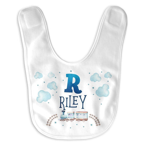 Cloudy Steam Train - Personalized Baby Bib - Baby Apparel