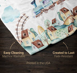 Cloudy Steam Train - Personalized Blanket - Blankets