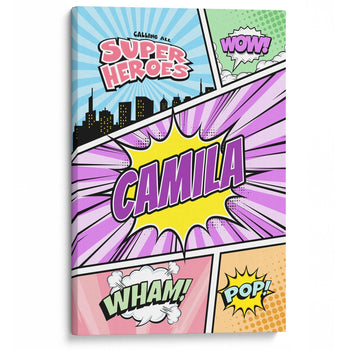 Comic Superhero Pastel - Personalized Canvas - Canvases