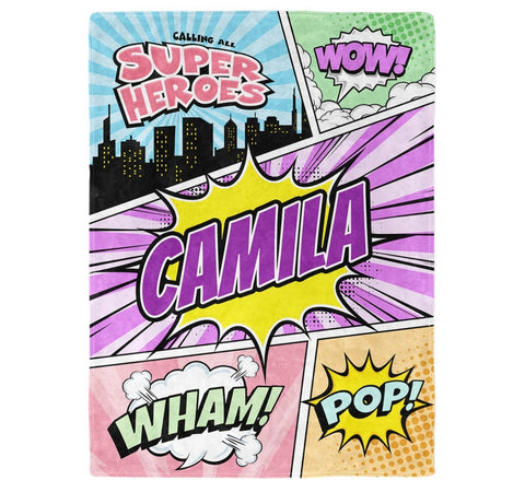 Comic Superhero Pastel - Personalized Blanket - Blankets