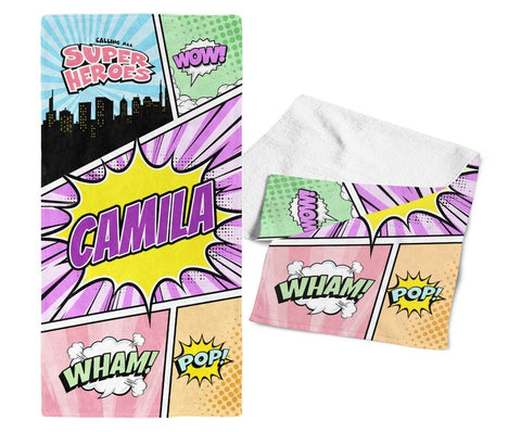 Comic Superhero Pastel - Personalized Towel - Towels
