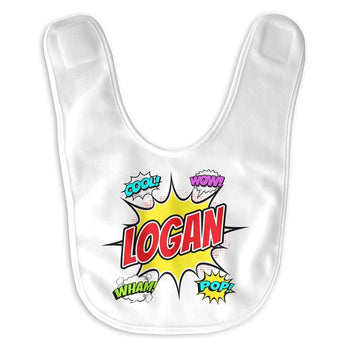 Comic Superhero - Personalized Baby Bib - Baby Apparel