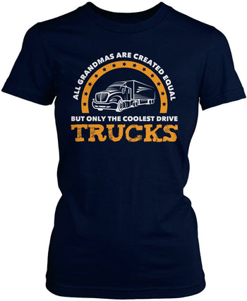 Only the Coolest (Nickname) Drive Trucks - Personalized T-Shirt - Women's Fit T-Shirt / Navy / S