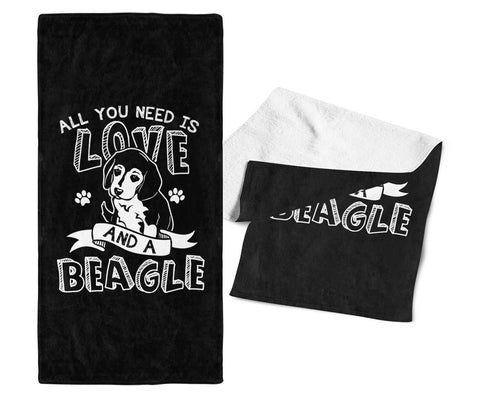 All You Need Is Love and a Beagle - Gym / Kitchen Towel - Towels