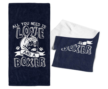 All You Need Is Love and a Boxer - Gym / Kitchen Towel - Towels
