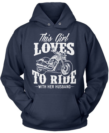 This Girl Loves to Ride with Her Husband - Pullover Hoodie / Navy / S