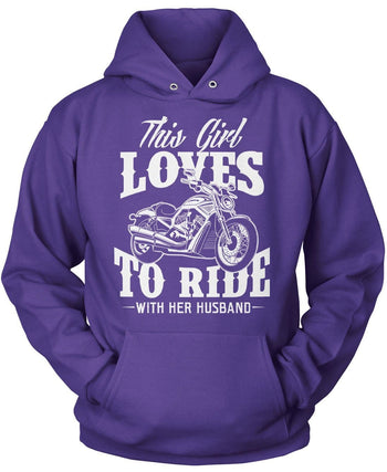 This Girl Loves to Ride with Her Husband - Pullover Hoodie / Purple / S