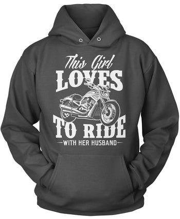 This Girl Loves to Ride with Her Husband - Pullover Hoodie / Dark Heather / S
