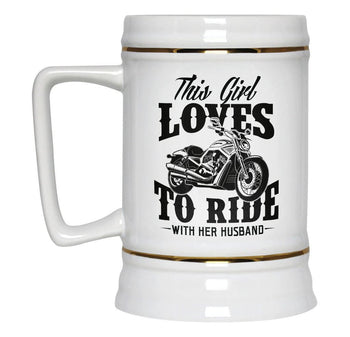 This Girl Loves to Ride with Her Husband - Beer Stein - [variant_title]