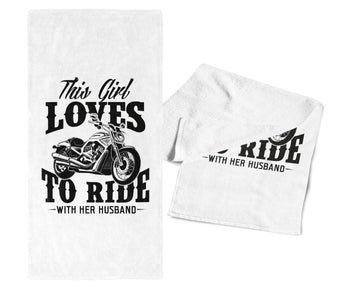 This Girl Loves to Ride with Her Husband - Gym / Kitchen Towel