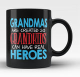 Grandmas - Grandkids Real Hero - Black Mug / Tea Cup