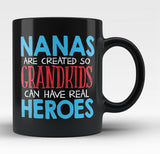 Nanas - Grandkids Real Hero - Black Mug / Tea Cup