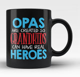 Opas - Grandkids Real Hero - Black Mug / Tea Cup