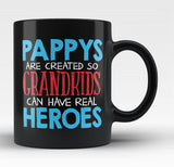 Pappys - Grandkids Real Hero - Black Mug / Tea Cup