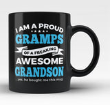 Proud Gramps of An Awesome Grandson - Black Mug / Tea Cup