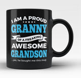 Proud Granny of An Awesome Grandson - Black Mug / Tea Cup