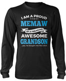 Proud Memaw of An Awesome Grandson Long Sleeve T-Shirt
