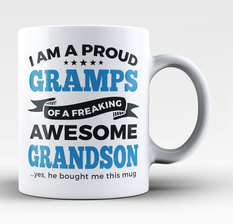 Proud Gramps of An Awesome Grandson - Coffee Mug / Tea Cup