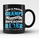 Proud Gramps of An Awesome Motocross Rider - Black Mug / Tea Cup