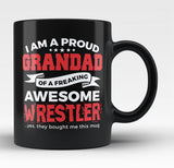 Proud Grandad of An Awesome Wrestler - Black Mug / Tea Cup