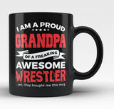 Proud Grandpa of An Awesome Wrestler - Black Mug / Tea Cup