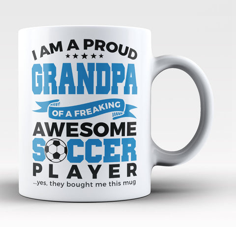 Proud Grandpa of An Awesome Soccer Player - Coffee Mug / Tea Cup