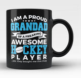 Proud Grandad of An Awesome Hockey Player - Black Mug / Tea Cup