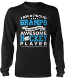 Proud Gramps of An Awesome Hockey Player Long Sleeve T-Shirt