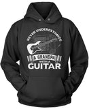 Never Underestimate a Grandpa with a Guitar Pullover Hoodie Sweatshirt