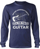 Never Underestimate a Paw Paw with a Guitar Longsleeve T-Shirt
