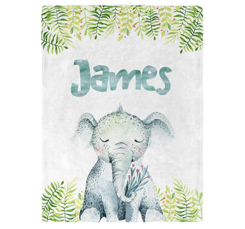 Elephant Safari - Personalized Blanket - Blankets