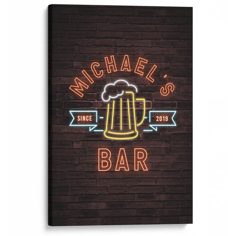 Faux Neon Beer Style Personalized Bar Canvas - Canvases