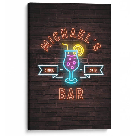Faux Neon Cocktail Style Personalized Bar Canvas - Canvases