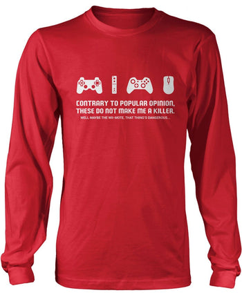 Video Games Don't Make Me a Killer - Long Sleeve T-Shirt / Red / S
