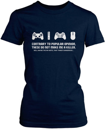 Video Games Don't Make Me a Killer - Women's Fit T-Shirt / Navy / S