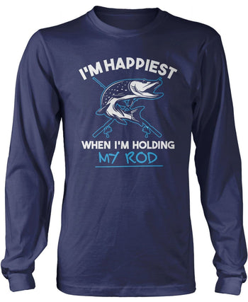 I'm Happiest When I'm Holding My Rod - Long Sleeve T-Shirt / Navy / S