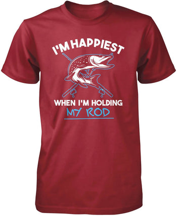 I'm Happiest When I'm Holding My Rod - Premium T-Shirt / Cardinal / S